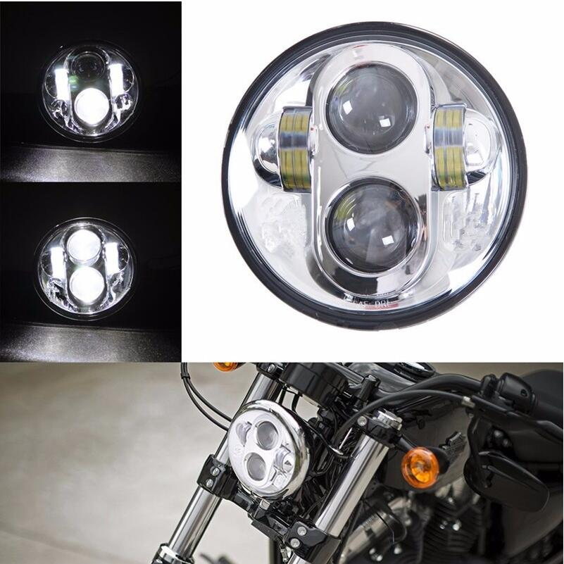 Transauto 2 pcs 4.5 Round LED Fog Light for Harley Davidson Motorcycles Black