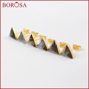 Image 3 - BOROSA 8mm Triangle Gold Color Natural Labradorite Faceted Drusy Stud Earrings, Druzy Stone Studs Earrings for Wholesale G1300