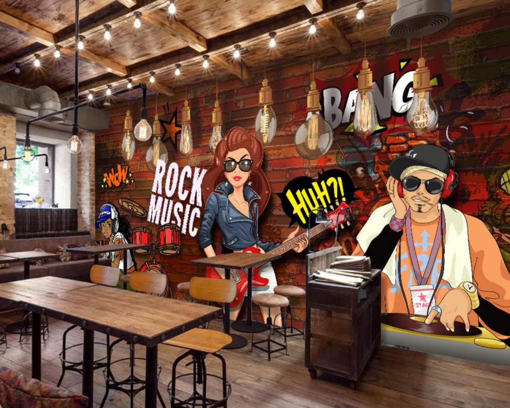 Free Shipping Retro Rock Street Graffiti Music Bar Background Wall Cool Wallpaper Custom 3D Restaurant KTV Decorative Mural 10 20feet 300 600cm photography background boats dock house wallpaper free shipping