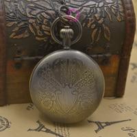 Wholesale Buyer Price Good Quality Man Black Retro Vintage Classic Shield Shape Figure Brass Mechanical Pocket Watch