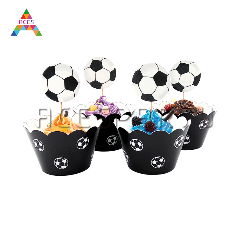 12pcs/ Lot Black and White Football Cupcake Wall Card Children's Birthday Party Dessert Table Cake Decoration