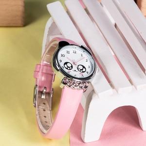 Image 4 - KDM ガール腕時計子供かわいい目ダイヤモンド防水本革腕時計素敵な子供子供たちは、学生時計