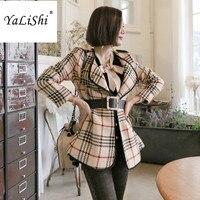 Fashion New Winter Wool Woolen Coat Women Vintage Jacket With Belt Elegant Office Khaki Turn Down