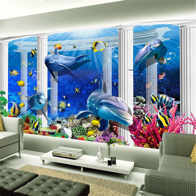 3d Wallpaper Home Decor Photo Background Underwater Dolphin Coral