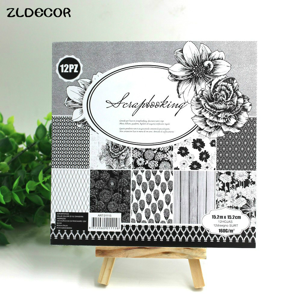 Scrapbook paper decor - Zldecor 6 Double Side Printed White And Black Floral Pattern Creative Papercraft Art Paper