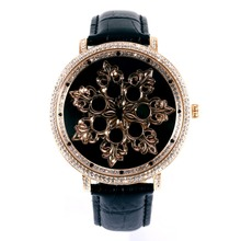 MATISSE Fashion Austria Crystal Rotatable Dial Leather Strap Buiness Quartz Watch Wristwatch