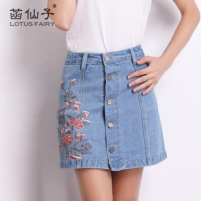 bba0e86f0 € 29.45 |Lotusfariy bordado Denim faldas para las mujeres floral a line  sobre la rodilla mini falda jeans con alta cintura verano falda 2018 moda  en ...