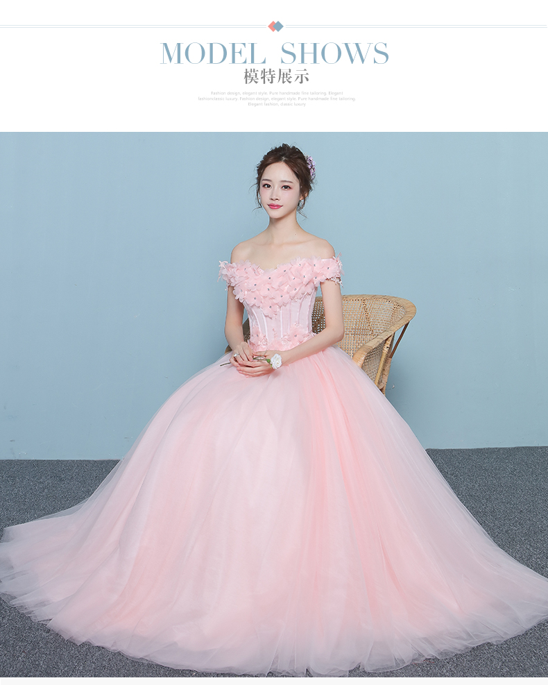 100%real luxury light pink flower embroidery vintage ball gown royal ...