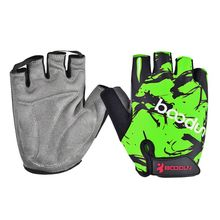 HOWO Top Half Finger Shockproof Breathable Outdoor MTB Road Bike Bicycle Sport Running Gloves for Totem green