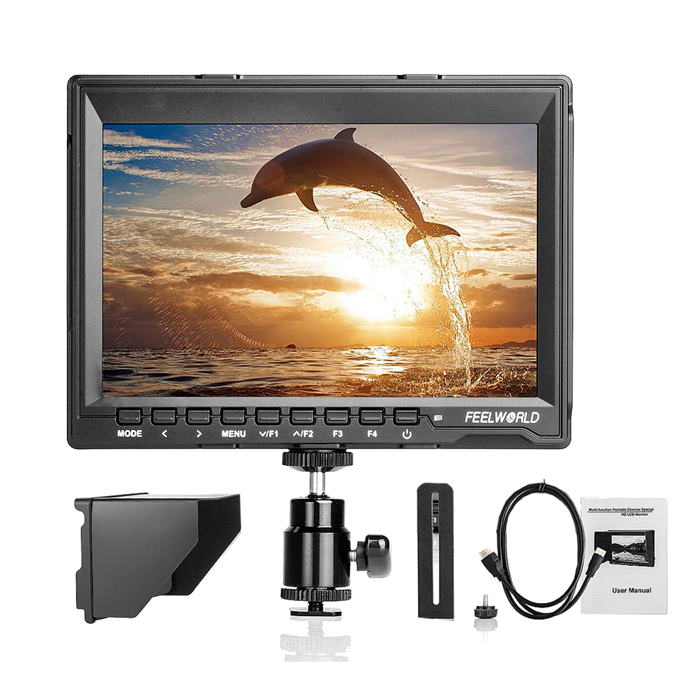 Feelworld FW759P Pro 7 1280x800 HD IPS Panel LCD Field Monitor HDMI Audio Input  for BMCC DSLR 5D2 70D+HDMI Cable+Sunshade aputure digital 7inch lcd field video monitor v screen vs 1 finehd field monitor accepts hdmi av for dslr