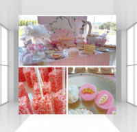 HUAYI Custom White Swan princess backdrop photophone photocall baby shower pink floral background for birthday party backdrop
