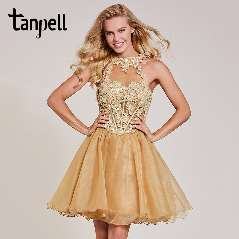 Tanpell appliques   cocktail     dress   champagne halter neck sleeveless knee length a line gown lady homecoming short   cocktail     dresses