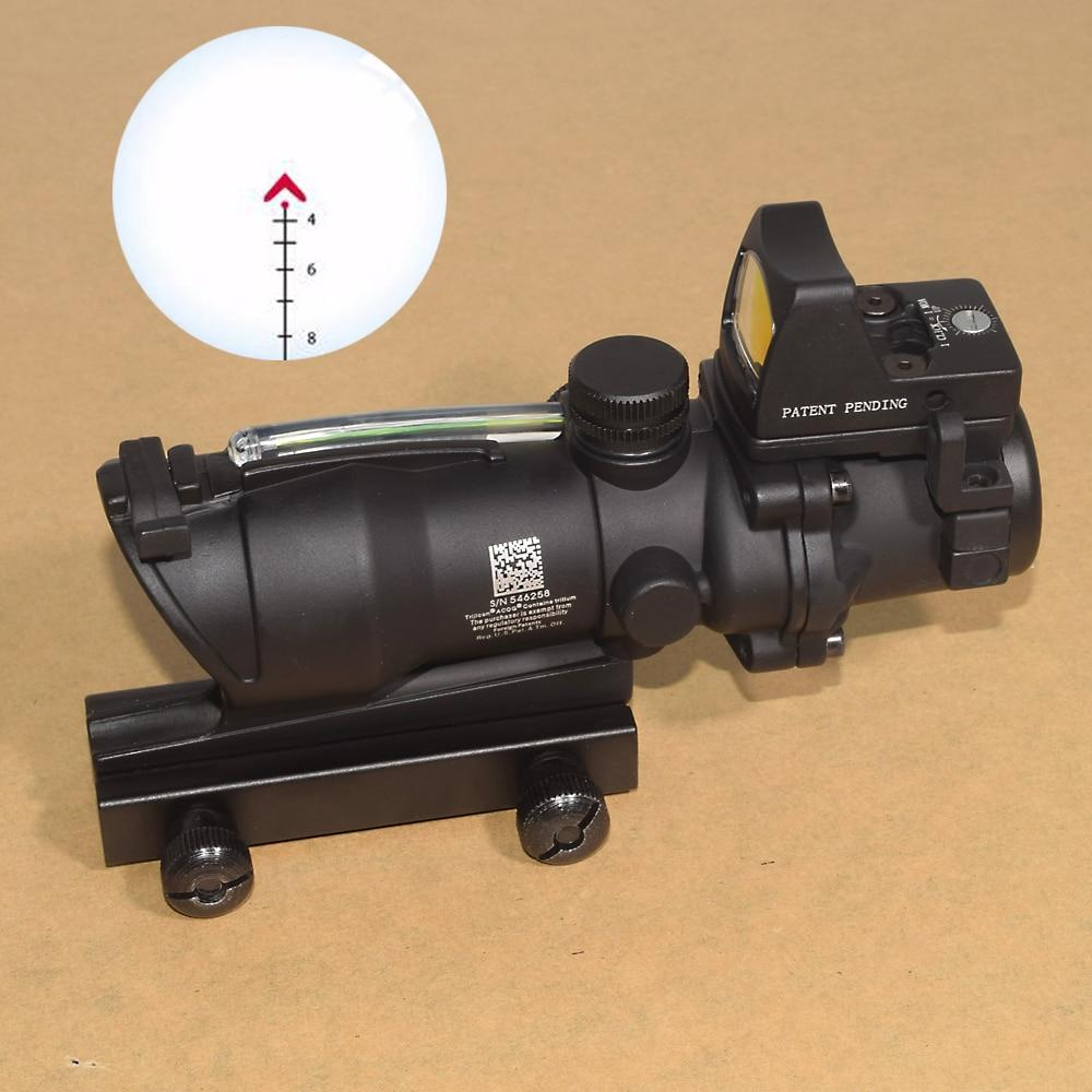 ACOG 4X32 Optic Scope Riflescope CAHEVRON Reticle Fiber Red Illuminated Optic Sight With RMR Mini Red Dot Sight 20mm Rail hunting 4 x 32 compact rifle scope fiber sight red dot scope with fiber optic sight for 20mm rail ulitity