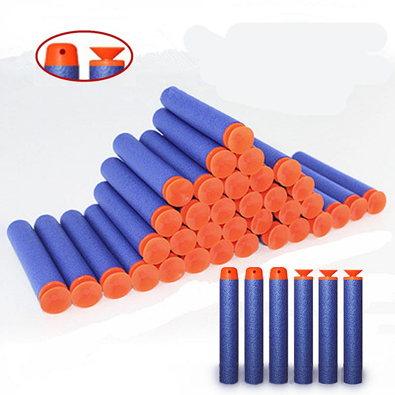 32pcs Soft Bullet Toys For Airguns Plastic Military Sucker Warhead Dart Standard Round Head Hollow Foam Bullets For Nerf Toy Gun