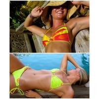 Tanga Swimwear Women Low Waist Mini Bikinis Push Up Summer Beach Wear Swim Bathing Suits Bandage