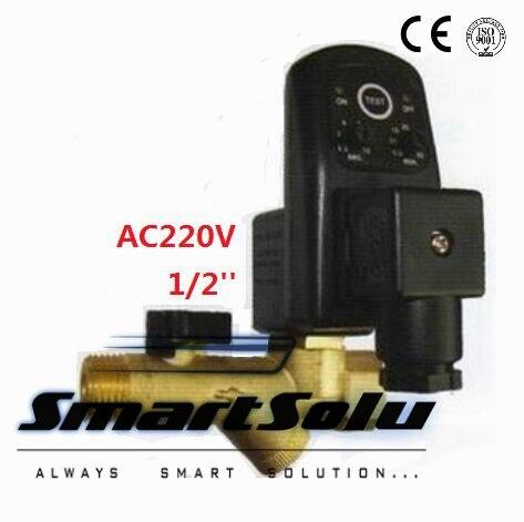 Free shipping High Quality 1/2''Compressor Auto Condensate Drain Digital Timer Valve Solenoid AC220V ,16Bar Pressure