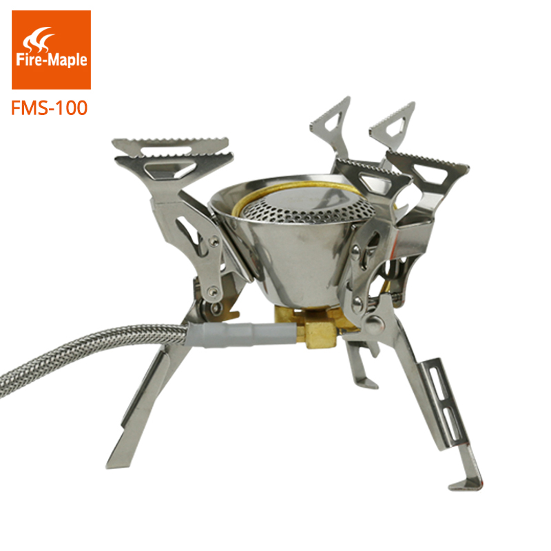 Fire-Maple Folding Burners Inverted Camping Stove Camping Hiking Split Gas Stove Stainless Steel Equipment 308g 2450W FMS-100 fire maple 2450w titanium alloy burner camping equipment ultra light collapsible burner fms 100t split gas stove outdoor stove