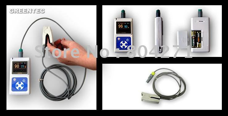Oximetro de dedoFast EMS Free Shipping Oximeter color display with software and spo2 probe CMS 60D Handheld