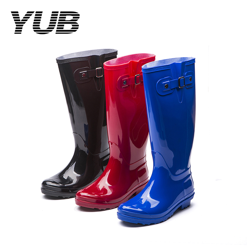 YUB Brand Women Solid Color Rain Boots with Elastic PVC Waterproof Knee High Anti-slip Rainboots Water Shoes Female Botas Hot yub brand waterproof rain boots for women with solid color slip on winter mid calf shoes for girls