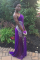 Crystal Purple  Evening Dresses 2016 One Shoulder Beaded Chiffon Sheer Illusion Rhinestones African Prom Party Gowns