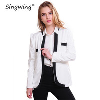 Singwing Autumn Women Open Stitch Coat Long Sleeve V-neck Women Jackets Casual style white and black color Coats