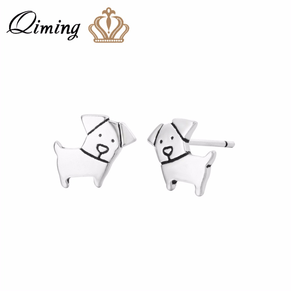 QIMING Lovely Tiny Dog Earrings For Women Animal Zodiac Birthday Gift Pet Lover Animal Jewelry Stud Earrings