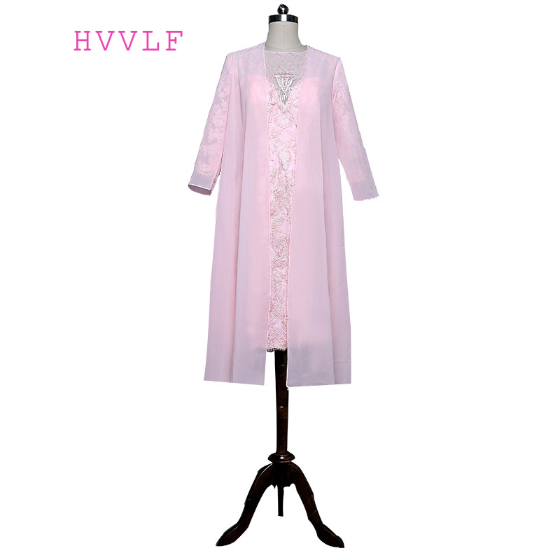 Pink 2019 Mother Of The Bride Dresses Sheath Chiffon Lace Beaded Wedding Party Dress Mother Dresses For Wedding With Jacket