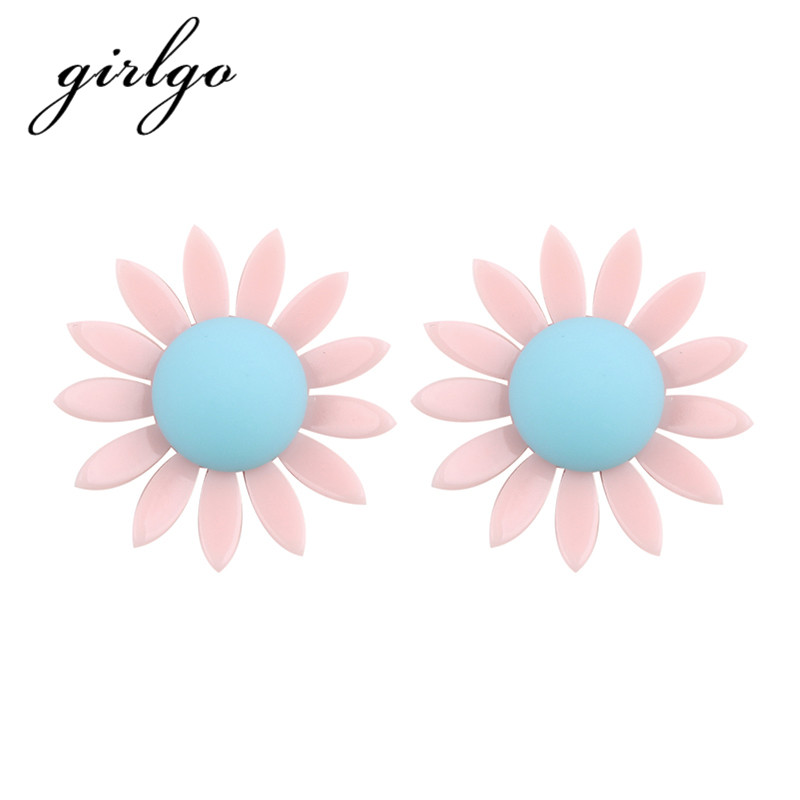 Girlgo Pinky Color Sunflower Stud Earrings For Women Charm Big Flowers Statement Earrings Bijoux Wedding Fashion Accessories