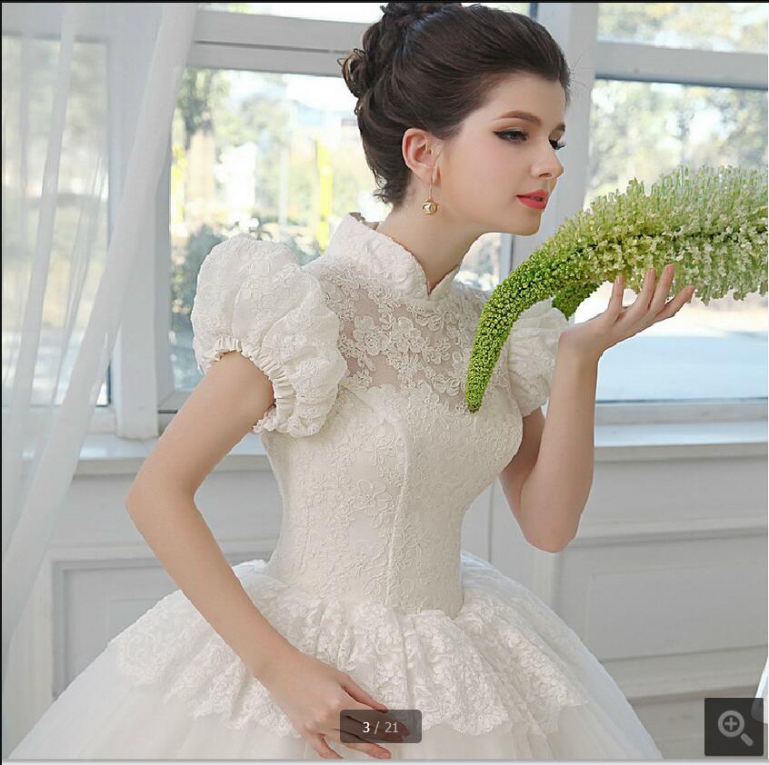 Vestidos De Noiva Ball Gown Puff Sleeve Muslim Modest Wedding Dress Arabic High Neck Vintage Lace Appliques Bride Dress