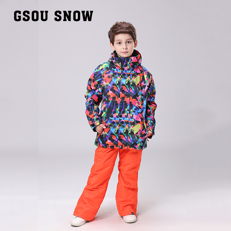 GSOU SNOW Children Outerwear Warm Coat Sporty Ski Suit Kids Clothes Sets Waterproof Windproof  boys Jackets for -30 Degree 2016 new brand children snow runner self balance scooter snow bicycle for kids ski kits