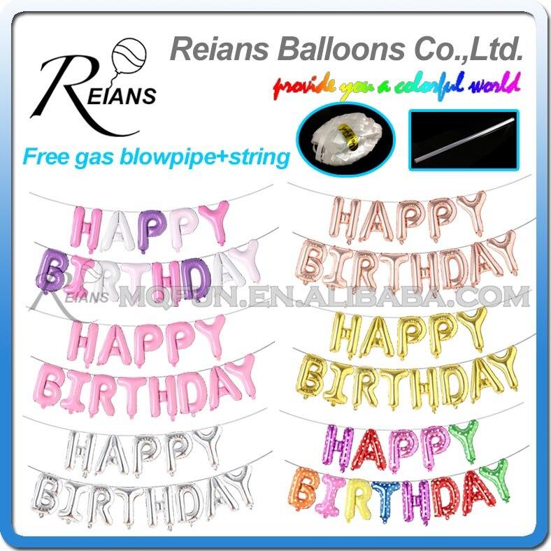 100 set/los Freies string 16 Zoll Glücklich Geburtstag Folie Ballons Goldene Silber Bunte Party Dekoration Ballon Buchstaben Ballon spielzeug-in Ballons & Zubehör aus Heim und Garten bei AliExpress - 11.11_Doppel-11Tag der Singles 1
