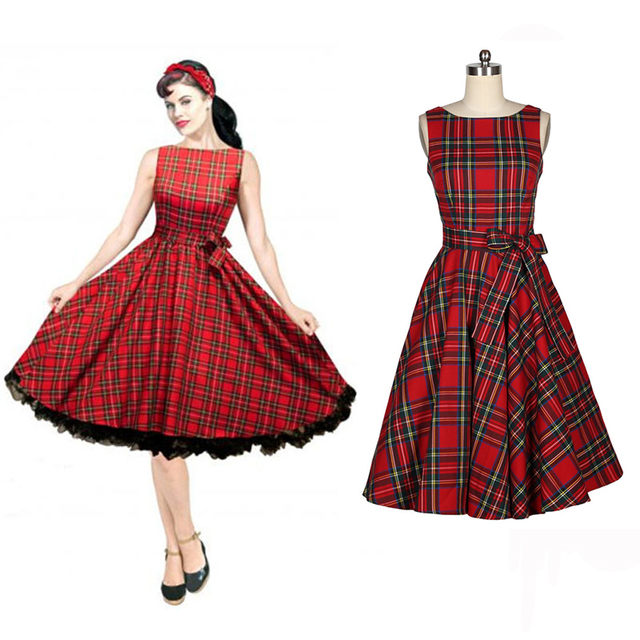 4bfcedd421a3a 0022-1950s pinup retro vintage rockabilly Audrey Hepburn Classy red tartan  swing Christmas boat neckdress/plaid /gingham dress