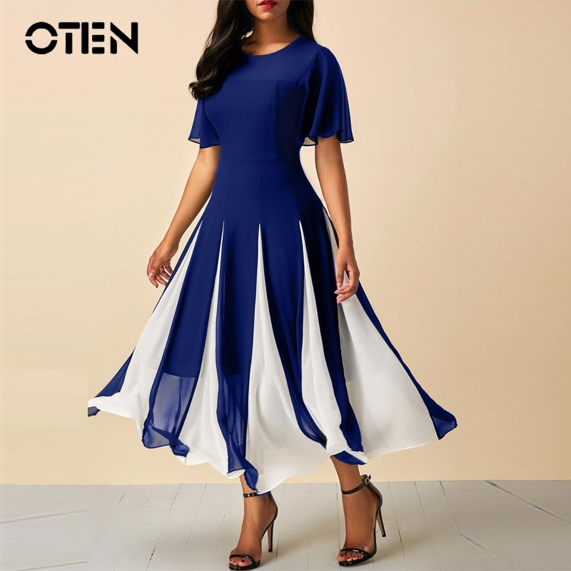 OTEN midi chiffon dresses 2018 summer Short sleeve O-Neck A-line Contrast color Elegant fashion women clothes Mid-Length dress