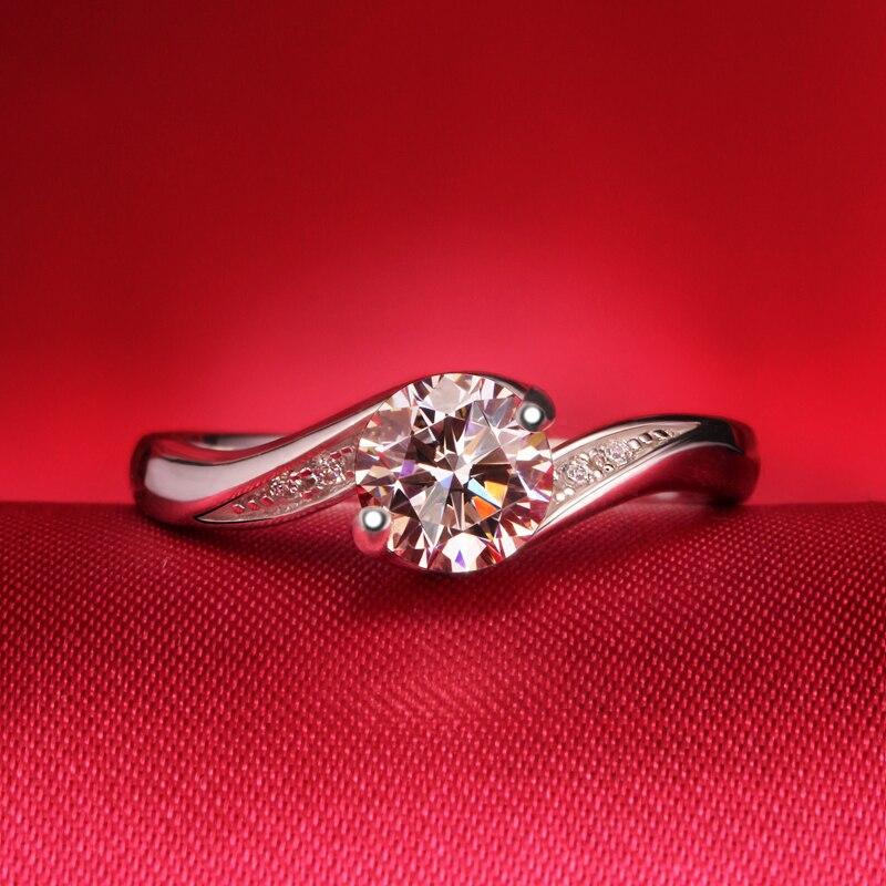 Bague Moissanite coupe ronde 1ct en argent Sterling 925 diamant de fiançailles et bague de mariage de laboratoire trouver pour les femmes