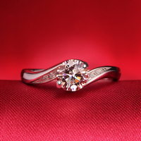 Round Cut 1ct Moissanite Ring Sterling Silver 925 Lab Grown Diamond Engagement & Wedding Ring Jewelry Find For Women
