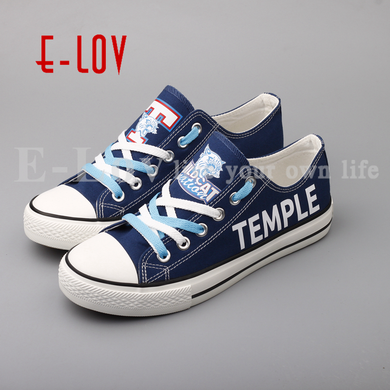 E-LOV Temple Wildcats College Shoes Blue Low Top Color Lace Canvas Shoes Cool Graffiti Flat Shoes Group Order Team Shoes college basketball jersey wildcats 23 100% college basketball jerseys