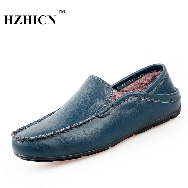 Big Size Men Genuine Leather Shoes winter Plush fur Oxfords Casual Loafers Keep Warm Driving Shoes High quality Fashion Flats pl us size 38 47 handmade genuine leather mens shoes casual men loafers fashion breathable driving shoes slip on moccasins