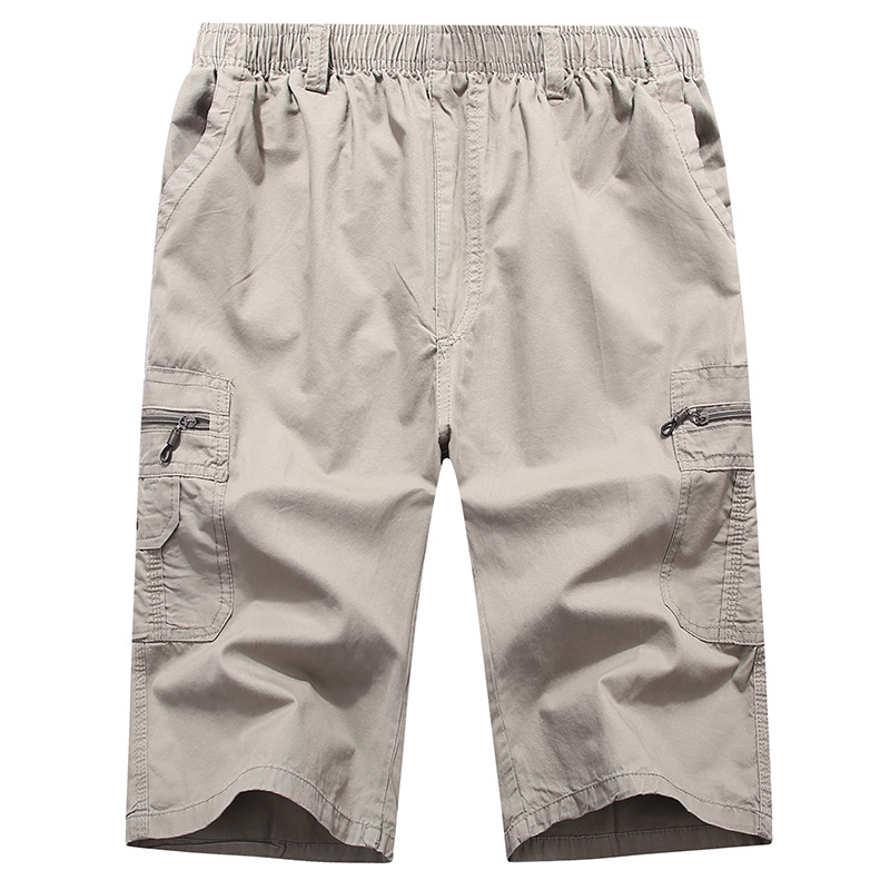Long-Shorts Cargo Bermuda Knee-Length 3/4-Pant Pocket Elastic-Waist Mens Breeches Male