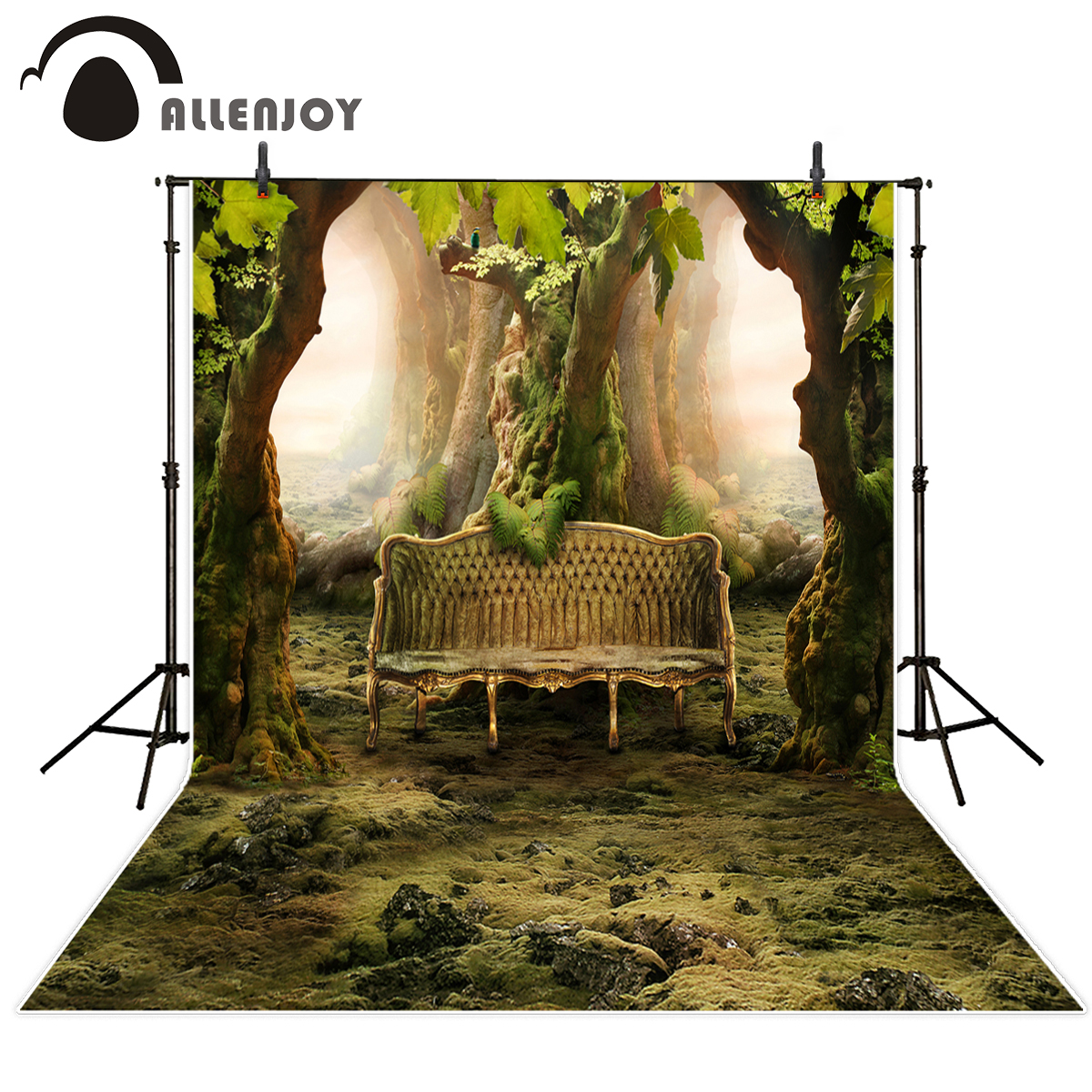 Allenjoy Photo Backdrops Forest Bench Vintage Computer