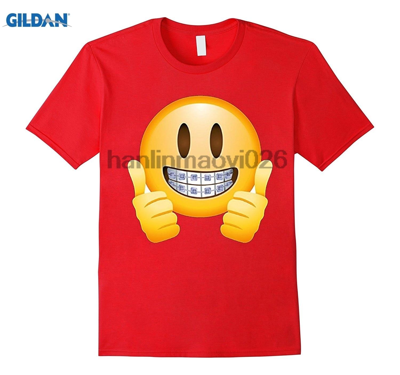 GILDAN Braces Emoji T-Shirt Thumbs Up Smile Face Happy Mouth Teeth
