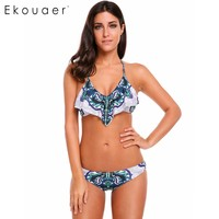 Ekouaer Female Slim Ruffles Bikini Set Sexy Floral Print Padded Swimwear High Quality Fabric Halter Bathing