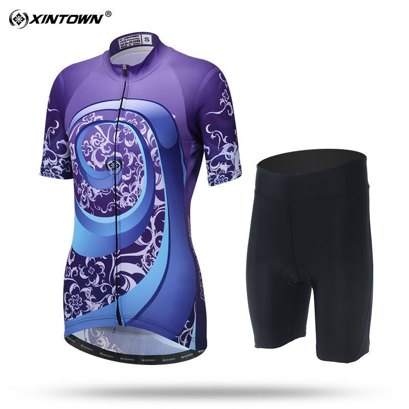 XINTOWN Women Summer Cycling Wear Short Sleeve Suit Bike Bicycle Cycling Clothing MTB Shorts Women's Team Cycling Jersey Sets triathlon fitness women sports wear shorts kit sets cycling jersey mountain bike clothing for spring jersey padded short