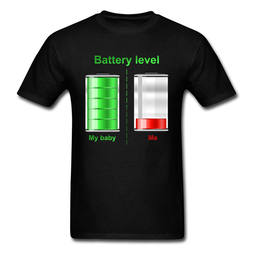 Leisure Short Sleeve Tops Tees Father Day 100% Cotton Men T Shirt Red Green Battery Level Show Print T-Shirt Funky Free Shipping