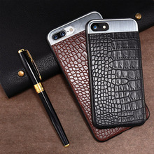 for Iphone7 and 7plus leather case for 8 and 8plus metal wire drawing mobile phone shell crocodile skin paste leather phone cas
