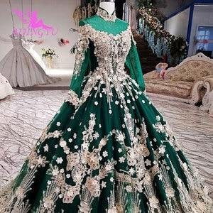 Image 1 - Vestidos de novia AIJINGYU 2021 2020, vestido moderno de lujo con mangas, vestidos de novia de encaje de América a la venta, vestido de boda de compromiso