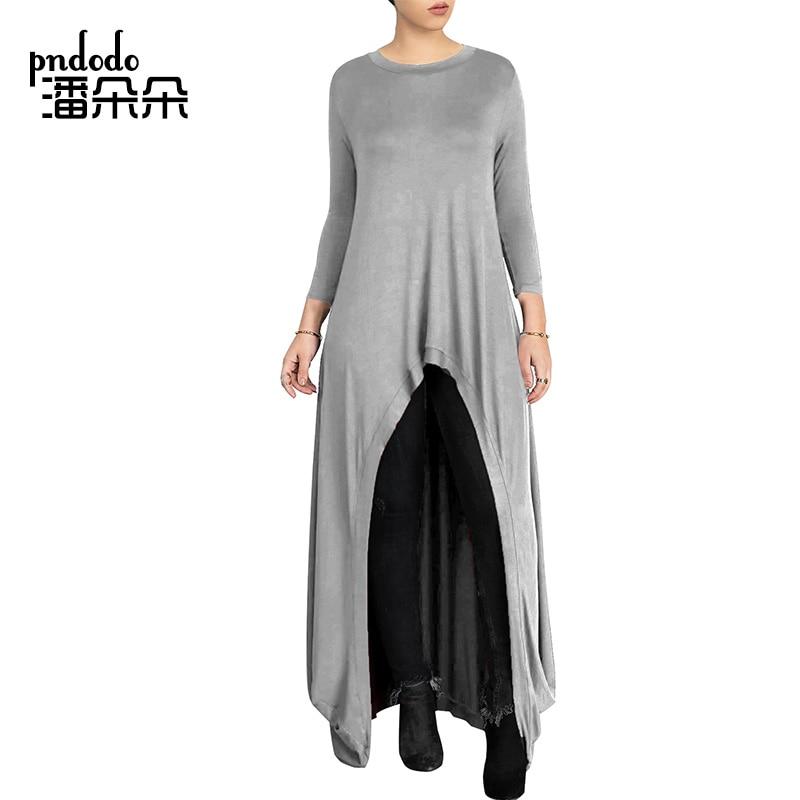 Pndodo PLUS SIZE Women Long Sleeve High Low Maxi Dress Ladies Plain Casual  Long Dresses Front Split Round Neck Loose Shift Dress-in Dresses from  Women s ... 2d678f29df5c