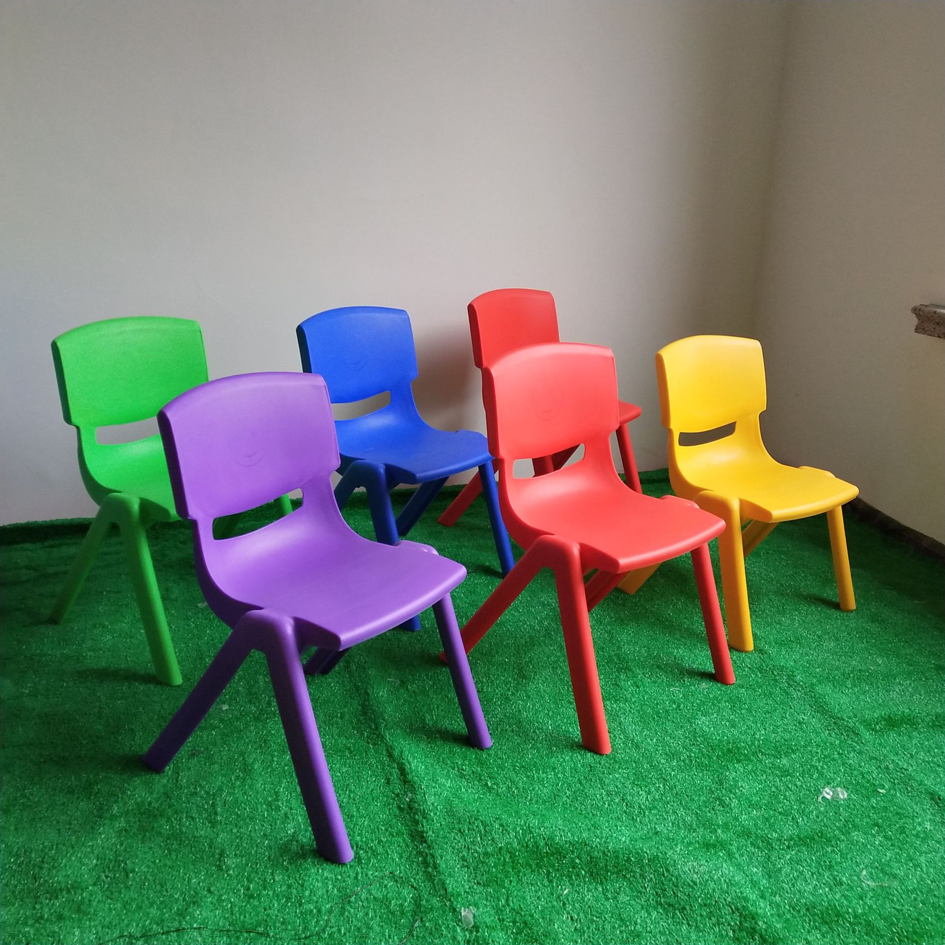 Backrest:  Colorful cute chair children's tables and chairs plastic backrest small chair thickened scrub children furniture - Martin's & Co