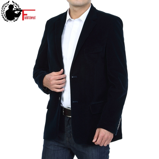 Mens Corduroy Blazers 2019 Spring Men Blazer Smart Casual Jacket Solid Camel Black Cotton Business Suit Jackets Male Officer 4XL