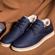 Ankle boots solid black shoes snow boots 2018 new arrival round toe plush sewing warm boots men winter shoes big size 39-45 722