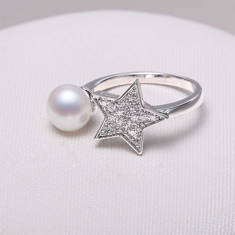 DAIMI Star Ring 8-9MM White Freshwater Pearl Ring High Quality Star Fashion Ring New Look Gift For Women